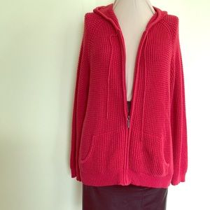 Relativity Red Cotton Hooded cardigan sweater